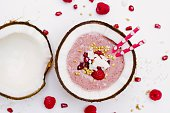 Raspberry Smoothie In Coconut