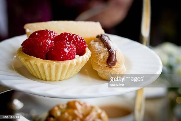 Raspberry Tart and Chocolate Eclair