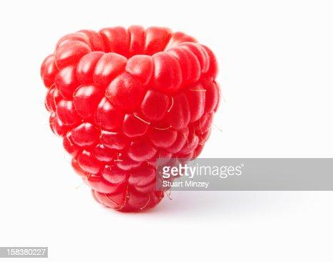Raspberry upright on white background