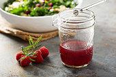 Fresh and bright raspberry vinaigrette salad dressing
