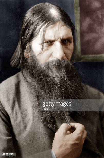 Rasputin russian adventurer healer of czarevitch protege of the czarina he was murdered by prince Ioussoupov here in 1908 colorized document