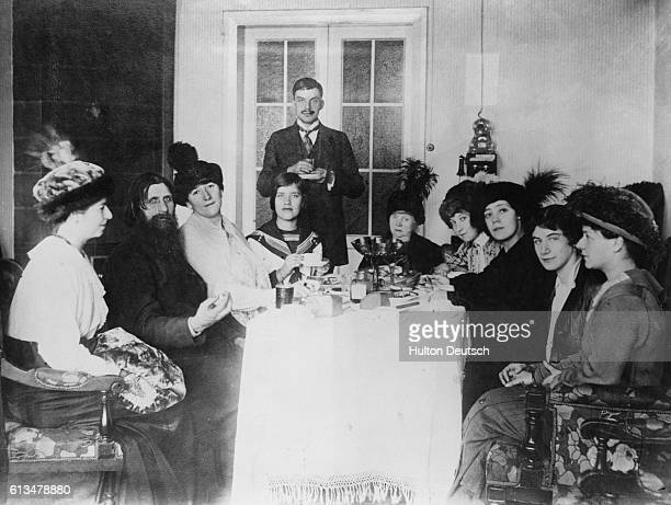 Rasputin Russian peasant and mystic with some of his followers in Russia in about 1911