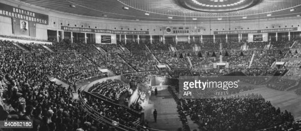 Rassemblement de soutien aux étudiants chinois expulsés d'Union soviétique le 5 novembre 1966 à Pékin Chine
