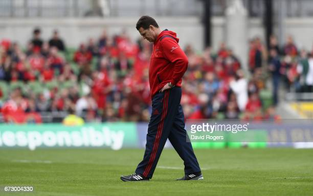 Rassie Erasmus the Munster head coach looks on prior to the European Rugby Champions Cup semi final match between Munster and Saracens at the Aviva...