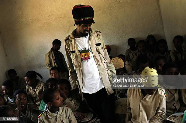 Rastafarian teacher stands in his classroom in a school built by the Jamaican Rastafarian community in the Ethiopian town of Shashamana 04 February...