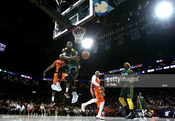 Rasual Butler of the Ball Hogs looks to pass against Allen Iverson of 3's Company during week one of the BIG3 three on three basketball league at...