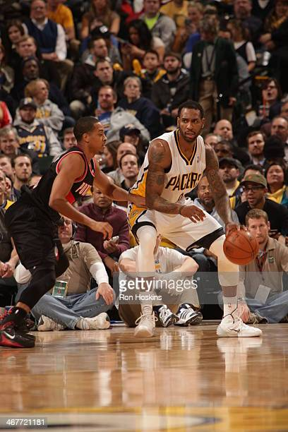 Rasual Butler of the Indiana Pacers handles the ball against the Portland Trail Blazers at Bankers Life Fieldhouse on February 7 2014 in Indianapolis...