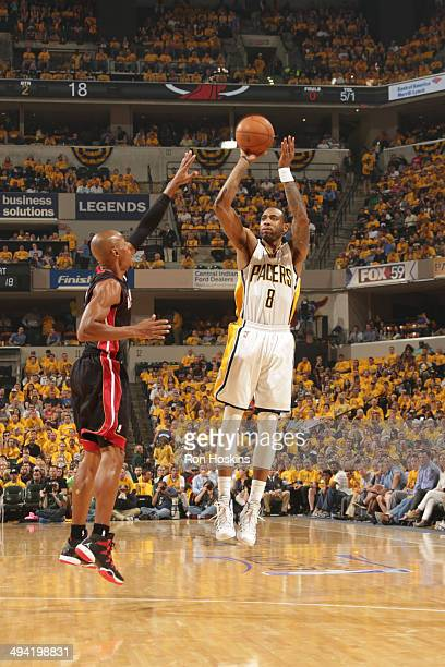 Rasual Butler of the Indiana Pacers shoots against the Miami Heat in Game Five of the Eastern Conference Finals during the 2014 NBA Playoffs on May...