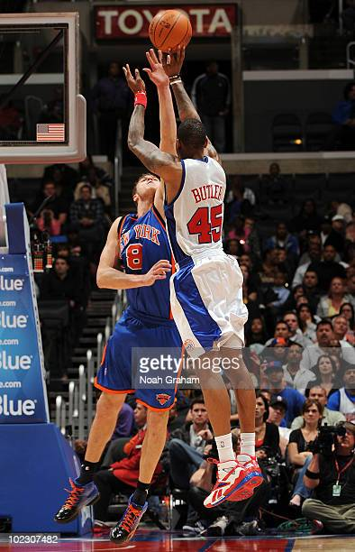 Rasual Butler of the Los Angeles Clippers puts up a shot over Danilo Gallinari of the New York Knicks at Staples Center on April 4 2010 in Los...