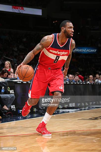 Rasual Butler of the Washington Wizards brings the ball up court against the New York Knicks on April 3 2015 at the Verizon Center in Washington DC...