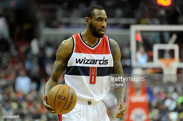 Rasual Butler of the Washington Wizards handles the ball against the Toronto Raptors during Game Four of the Eastern Conference Quarterfinals of the...