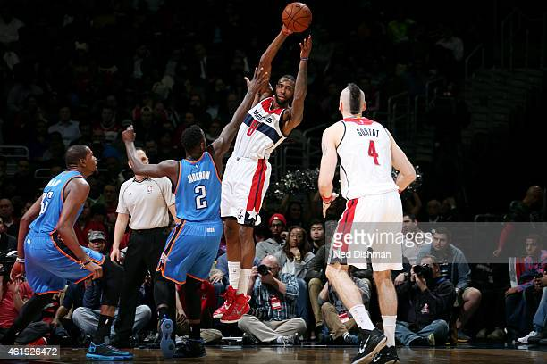 Rasual Butler of the Washington Wizards passes the ball against the Oklahoma City Thunder on January 21 2015 at Verizon Center in Washington DC NOTE...