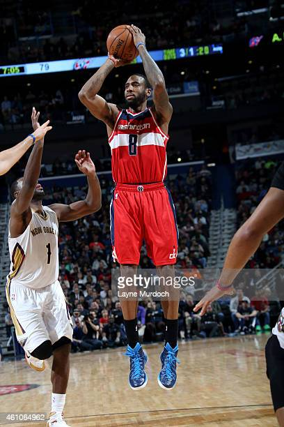 Rasual Butler of the Washington Wizards shoots against the New Orleans Pelicans on January 5 2015 at Smoothie King Center in New Orleans Louisiana...