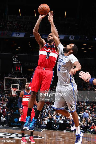 Rasual Butler of the Washington Wizards shoots the ball against the Brooklyn Nets during the game on January 17 2015 at Barclays Center in Brooklyn...