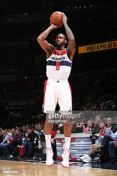 Rasual Butler of the Washington Wizards takes a shot against the Memphis Grizzlies on March 12 2015 at Verizon Center in Washington DC NOTE TO USER...