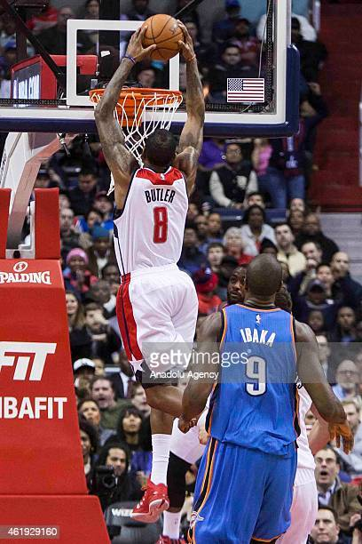 Rasual Butler of Washington Wizards dunks against the Oklahoma City Thunder during an NBA game at the Verizon Center in Washington DC on January 21...