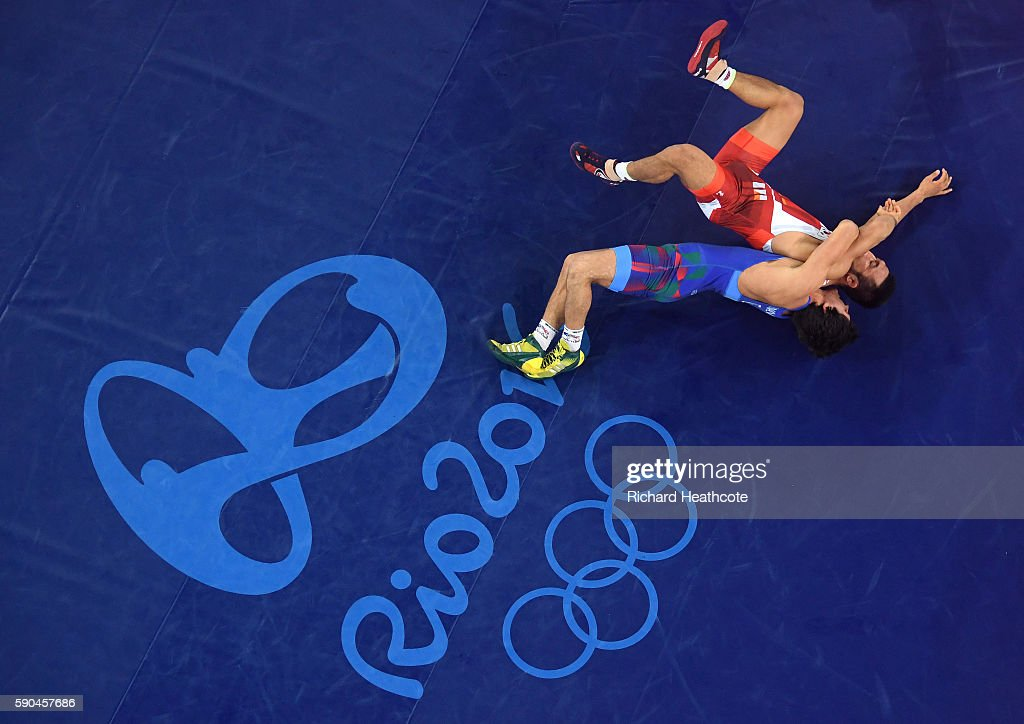 Rasul Chunayev of Azerbaijan competes against Hansu Ryu of Korea in the Men's Greco-Roman 66 kg Bronze final bout on Day 11 of the Rio 2016 Olympic Games at Carioca Arena 2 on August 16, 2016 in Rio de Janeiro, Brazil.
