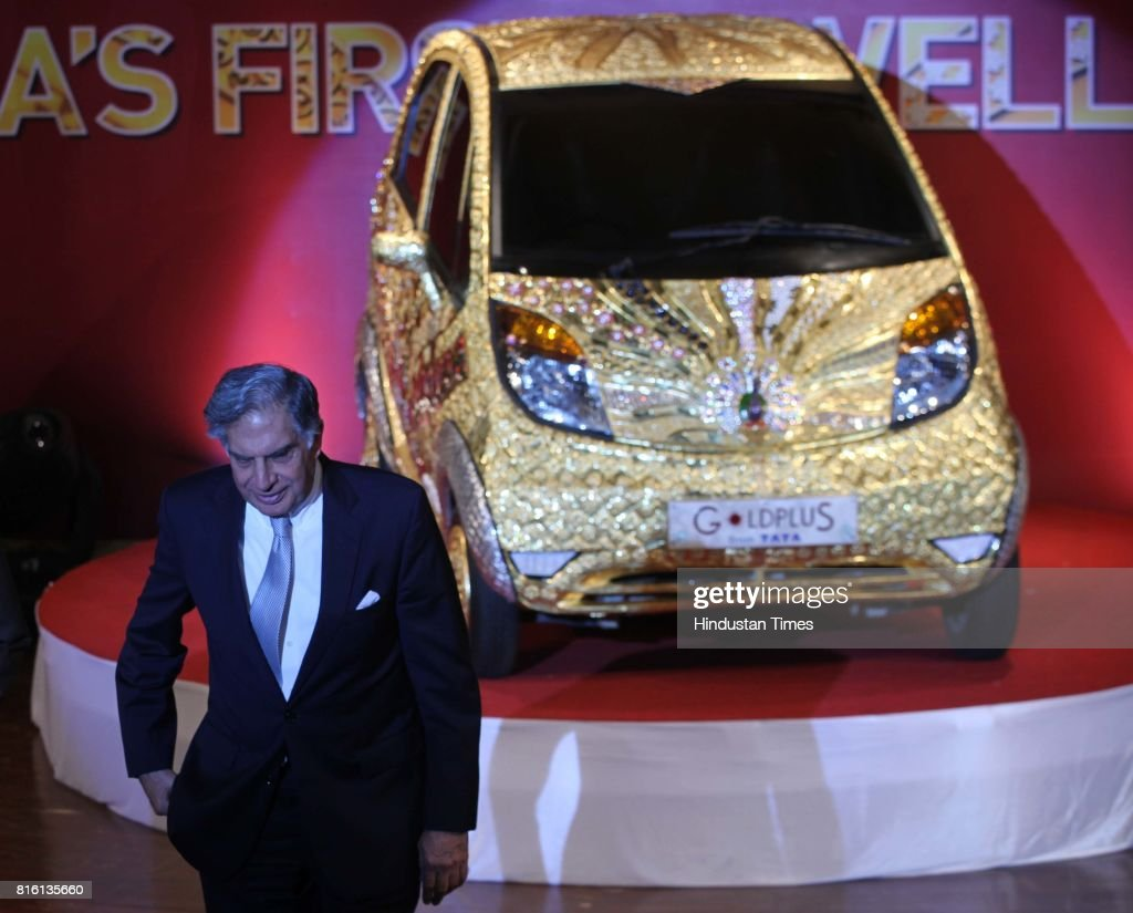 Ratan N Tata at the launch of Goldplus Nano Car at NCPA at Nariman Point on Monday.Goldplus Nano, world's first ever pure gold jewellery car.Goldplus car is tribute to thw nation acknowledging 5000 years of Indian jewellery making.