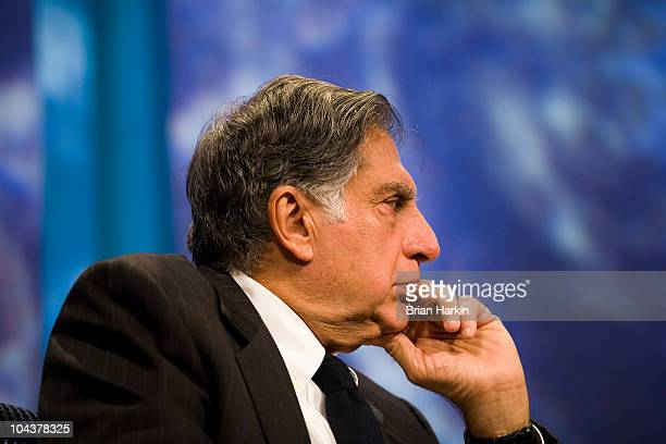 Ratan N Tata Chairman of Tata Sons listens during a panel called 'Enhancing Access to Modern Technology' during the annual Clinton Global Initiative...