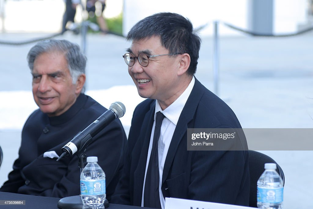 Ratan Tata (L) and Yung Ho Chang during Pritzker Architecture Prize 2015 at New World Symphony on May 15, 2015 in Miami Beach, Florida.