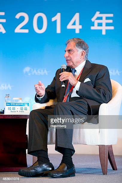 Ratan Tata chairman emeritus of Tata Group gestures as he speaks during a session at the Boao Forum for Asia in Boao Hainan China on Wednesday April...