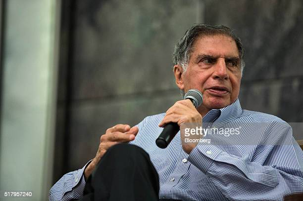 Ratan Tata chairman emeritus of Tata Sons speaks during a session advising Singapore startups in Singapore on Tuesday March 29 2016 Tata stepped down...