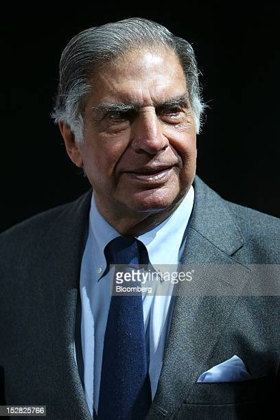 Ratan Tata chairman of Tata Group attends the Jaguar Land Rover Plc news conference on the first day of the Paris Motor Show in Paris France on...