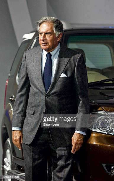 Ratan Tata chairman of Tata Motors Ltd pauses during the launch of the Tata Safari Storm sports utility vehicle at the Auto Expo 2012 in New Delhi...