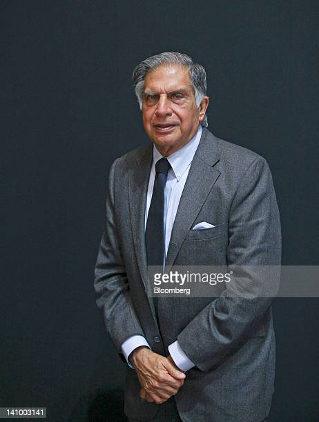 Ratan Tata chairman of Tata Motors Ltd poses for a photograph on the second press day of the Geneva International Motor Show in Geneva Switzerland on...