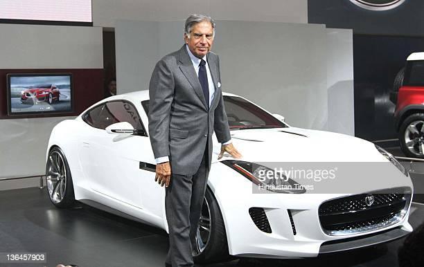 Ratan Tata Chairman Tata Group at Jaguar Pavilion during 11th Auto Expo held at Pragati Maidan on January 5 2012 in New Delhi India Tata Motorsowned...