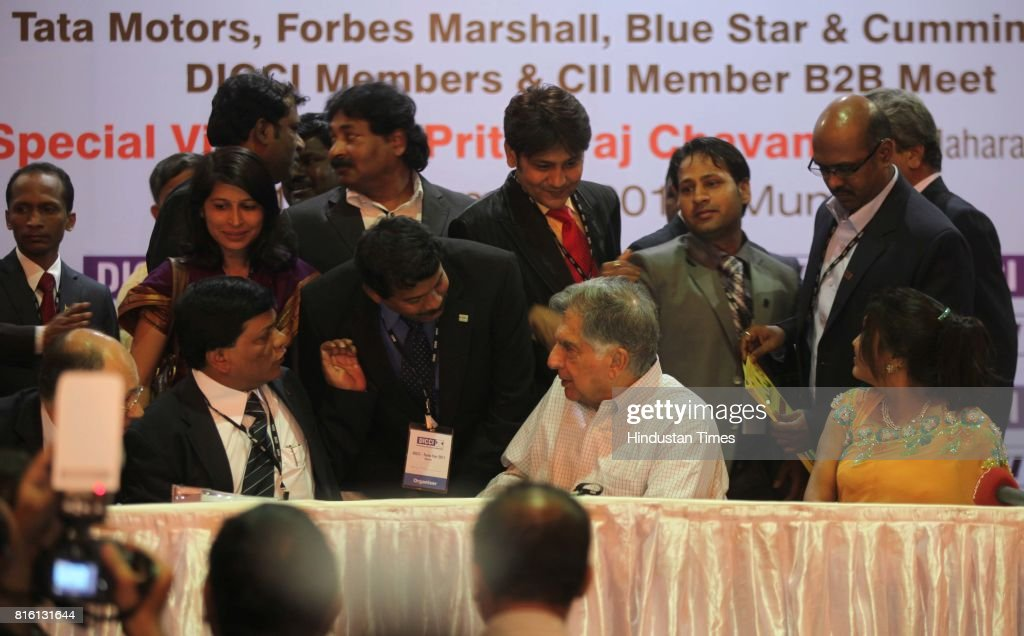 Ratan Tata interacting with entrepreneurs during his vist to Trade Fair by Dalit entrepreneurs at MMRDA Grounds, BKC on Saturday.