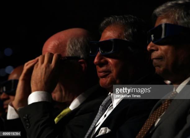 Ratan Tata wearing 3D glasses at launch of New Car 'TATA ARIA' in Mumbai