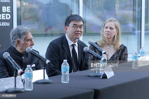 Ratan Tata Yung Ho Chang and Martha Thorne during Pritzker Architecture Prize 2015 at New World Symphony on May 15 2015 in Miami Beach Florida