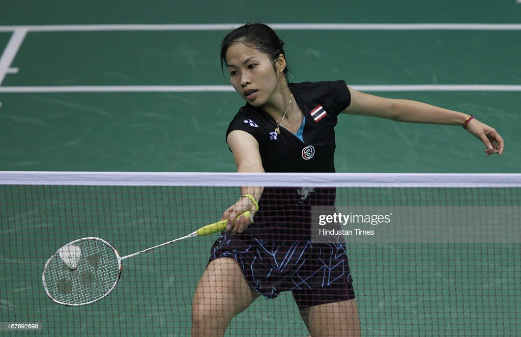 <a gi-track='captionPersonalityLinkClicked' href=/galleries/search?phrase=Ratchanok+Intanon&family=editorial&specificpeople=6597063 ng-click='$event.stopPropagation()'>Ratchanok Intanon</a>, badminton player from Thailand in action against Carolina Marin, badminton player from Spain during the Yonex Sunrise India Open Badminton Championship at Siri Fort Sports Complex on March 28, 2015 in New Delhi, India. Saina Nehwal scripted history by becoming the first Indian woman shuttler to attain the number one spot in world rankings, reaffirming her status as the country's most consistent performer in the international circuit.