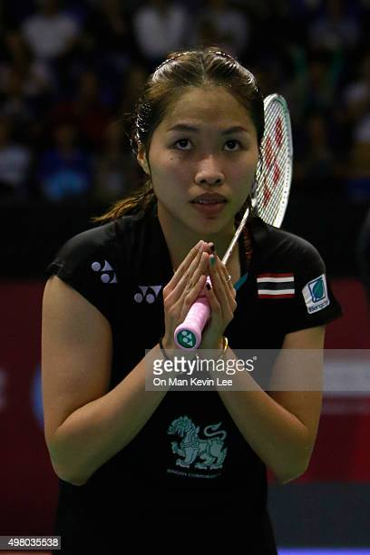 Ratchanok Intanon of Thailand acknowledges to spectators after winning after winning the match between Ratchanok Intanon of Thailand and Sayaka Sato...