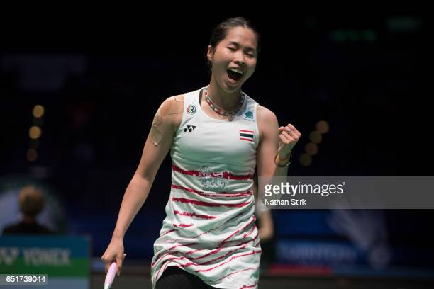 Ratchanok Intanon of Thailand celebrates as she wins the womens quarter final match against Carolina Marin during the YONEX All England Open...