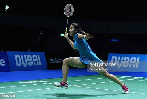 Ratchanok Intanon of Thailand in action against Akane Yamaguchi of Japan in the Womens Singles during day two of the BWF Destination Dubai World...