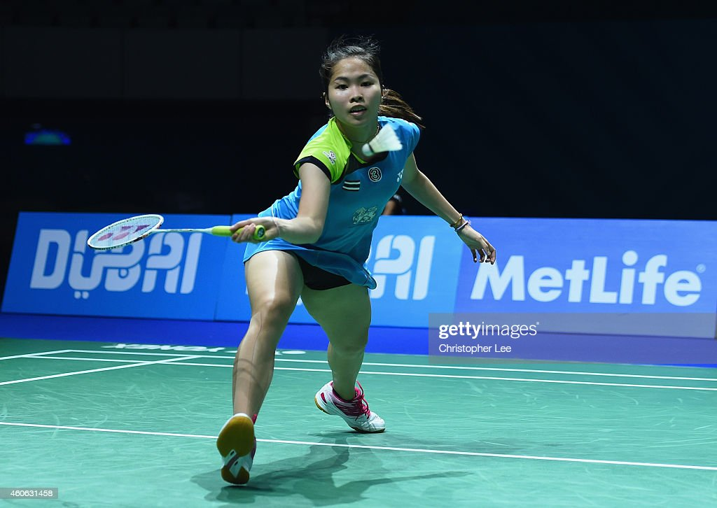 <a gi-track='captionPersonalityLinkClicked' href=/galleries/search?phrase=Ratchanok+Intanon&family=editorial&specificpeople=6597063 ng-click='$event.stopPropagation()'>Ratchanok Intanon</a> of Thailand in action against Akane Yamaguchi of Japan in the Womens Singles during day two of the BWF Destination Dubai World Superseries Finals on December 18, 2014 in Dubai, United Arab Emirates.