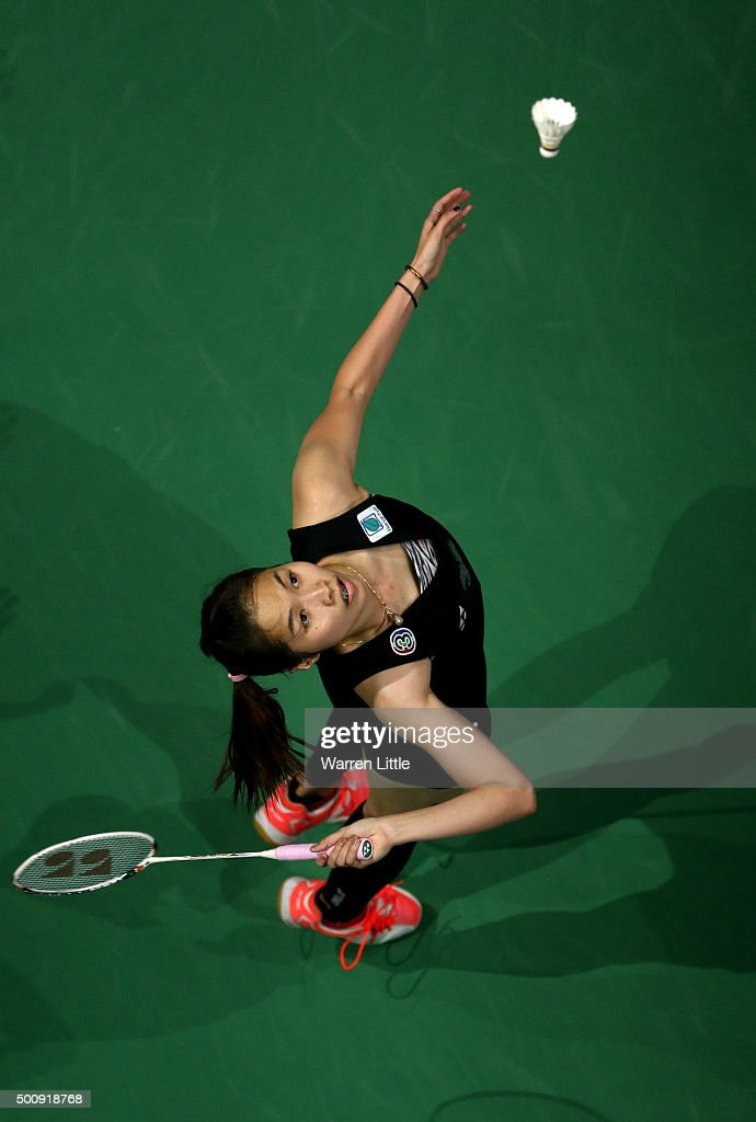 <a gi-track='captionPersonalityLinkClicked' href=/galleries/search?phrase=Ratchanok+Intanon&family=editorial&specificpeople=6597063 ng-click='$event.stopPropagation()'>Ratchanok Intanon</a> of Thailand in action against Shixian Wang of China in the Women's Singles match during day three of the BWF Dubai World Superseries 2015 Finals at the Hamdan Sports Complex on December 11, 2015 in Dubai, United Arab Emirates.