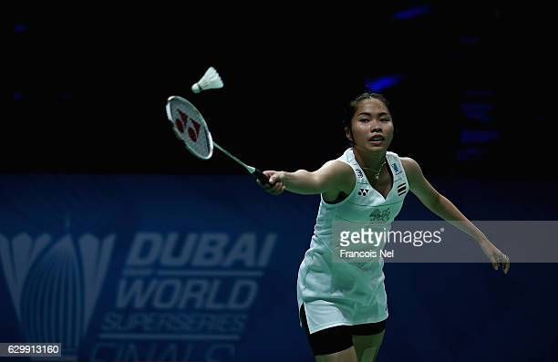 Ratchanok Intanon of Thailand in action against Tai Tzu Ying of Taiwan in the Women's Singles during day two of the BWF Dubai World Superseries...