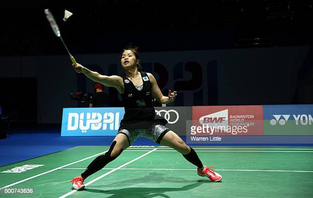 Ratchanok Intanon of Thailand in action against Yihan Wang of China in the Women's Singles match during day two of the BWF Dubai World Superseries...
