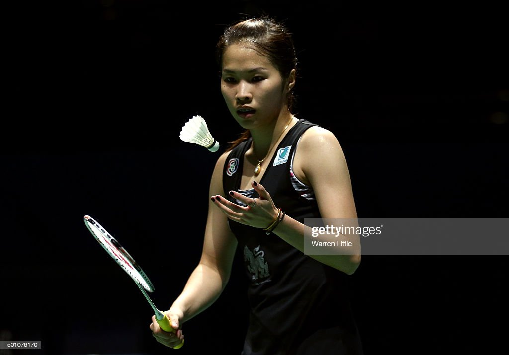 <a gi-track='captionPersonalityLinkClicked' href=/galleries/search?phrase=Ratchanok+Intanon&family=editorial&specificpeople=6597063 ng-click='$event.stopPropagation()'>Ratchanok Intanon</a> of Thailand in action against Yihan Wang of China in the semi final of the Women's Singles match during day four of the BWF Dubai World Superseries 2015 Finals at the Hamdan Sports Complex on December 12, 2015 in Dubai, United Arab Emirates.