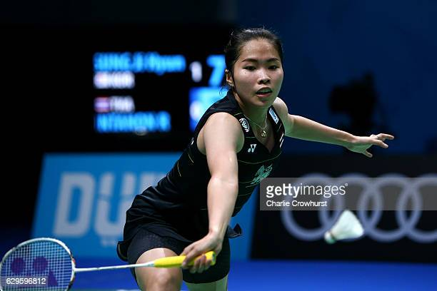 Ratchanok Intanon of Thailand in action during her womens singles match against Sung Ji Hyun of Korea on Day One of the BWF Dubai World Superseries...