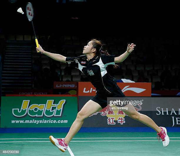 Ratchanok Intanon of Thailand in action during the LiNing BWF World Badminton Championships at Ballerup Super Arena on August 26 2014 in Copenhagen...