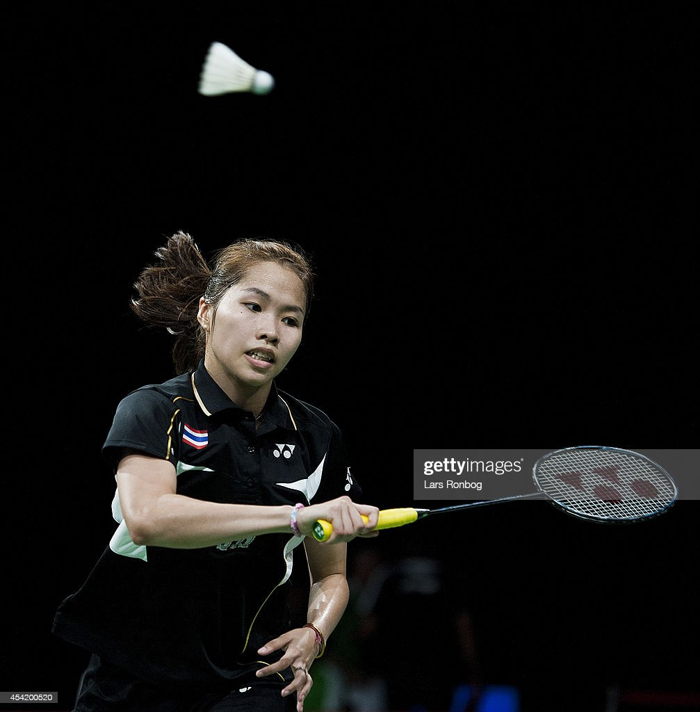 <a gi-track='captionPersonalityLinkClicked' href=/galleries/search?phrase=Ratchanok+Intanon&family=editorial&specificpeople=6597063 ng-click='$event.stopPropagation()'>Ratchanok Intanon</a> of Thailand in action during the Li-Ning BWF World Badminton Championships at Ballerup Super Arena on August 26, 2014 in Copenhagen, Denmark.