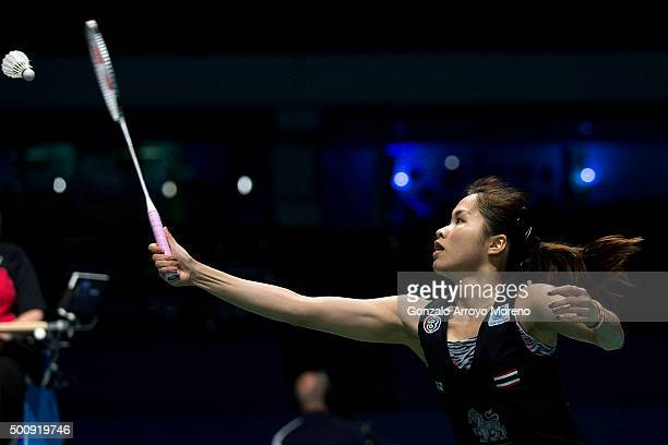 Ratchanok Intanon of Thailand in action in the Women's Singles match against Wang Shixian of China during day three of the BWF Dubai World...