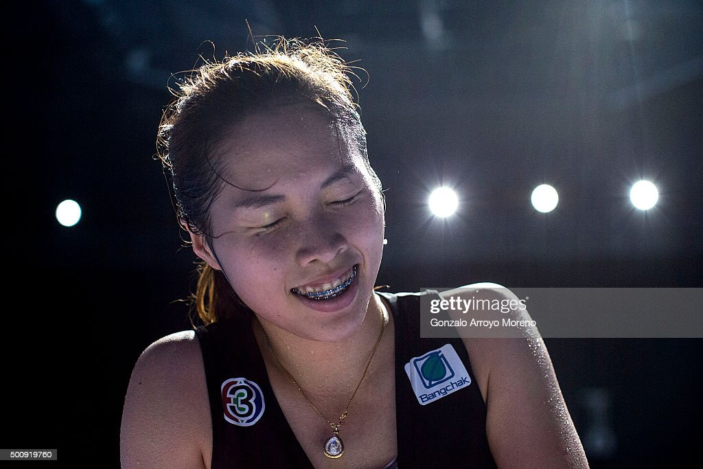 <a gi-track='captionPersonalityLinkClicked' href=/galleries/search?phrase=Ratchanok+Intanon&family=editorial&specificpeople=6597063 ng-click='$event.stopPropagation()'>Ratchanok Intanon</a> of Thailand reacts after her victory in the Women's Singles match against Wang Shixian of China during day three of the BWF Dubai World Superseries 2015 Finals at the Hamdan Sports Complex on on December 11, 2015 in Dubai, United Arab Emirates.