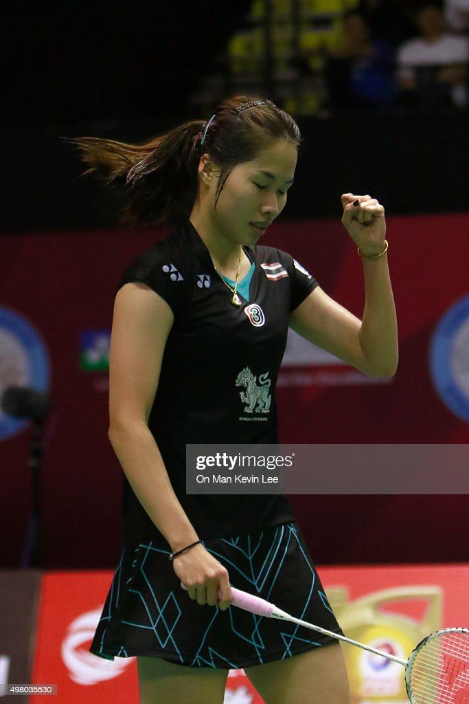 <a gi-track='captionPersonalityLinkClicked' href=/galleries/search?phrase=Ratchanok+Intanon&family=editorial&specificpeople=6597063 ng-click='$event.stopPropagation()'>Ratchanok Intanon</a> of Thailand reacts after winning the match between <a gi-track='captionPersonalityLinkClicked' href=/galleries/search?phrase=Ratchanok+Intanon&family=editorial&specificpeople=6597063 ng-click='$event.stopPropagation()'>Ratchanok Intanon</a> of Thailand and Sayaka Sato of Japn during Quarter-Finals of Yonex-Sunrise Hong Kong Open 2015 on November 20, 2015 in Hong Kong, Hong Kong.
