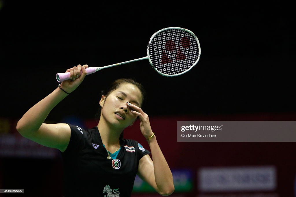 <a gi-track='captionPersonalityLinkClicked' href=/galleries/search?phrase=Ratchanok+Intanon&family=editorial&specificpeople=6597063 ng-click='$event.stopPropagation()'>Ratchanok Intanon</a> of Thailand reacts during the match between <a gi-track='captionPersonalityLinkClicked' href=/galleries/search?phrase=Ratchanok+Intanon&family=editorial&specificpeople=6597063 ng-click='$event.stopPropagation()'>Ratchanok Intanon</a> of Thailand and Sayaka Sato of Japn during Quarter-Finals of Yonex-Sunrise Hong Kong Open 2015 on November 20, 2015 in Hong Kong, Hong Kong.
