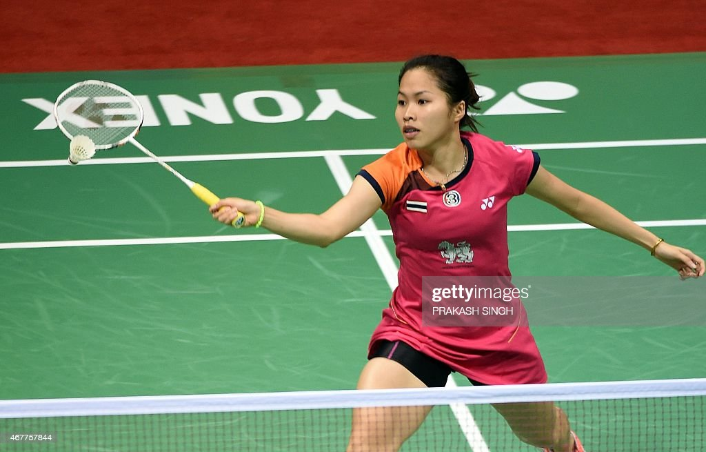 <a gi-track='captionPersonalityLinkClicked' href=/galleries/search?phrase=Ratchanok+Intanon&family=editorial&specificpeople=6597063 ng-click='$event.stopPropagation()'>Ratchanok Intanon</a> of Thailand returns a shot against Yao Xue of China during their women's singles badminton quarter-final match at the Yonex-Sunrise India Open 2015 at the Siri Fort Sports Complex in New Delhi on March 27, 2015.